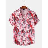 Men Casual Hawaii Print Turn Down Collar Holiday Shirts