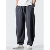 Mens 100% Cotton Solid Color Pocket Loose Drawstring Pants