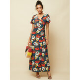 Bohemian Floral Print V-neck Bandage Split Maxi Dress