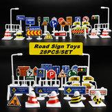 28SztukSamochodówZabawkaRuchZnaki Drogowe Dzieci Śmieszne Zagraj Edukacja Zabawki Akcesoria Do Zabawek