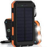 20000mAh सौर चार्जिंग पावर बैंक एसओएस मोड पोर्टेबल सेल फोन सौर चार्जर दोहरी USB चार्जिंग पोर्ट एलईडी टॉ