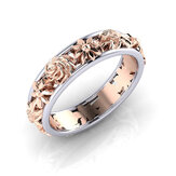 Sweet Rose Gold Flower Hollow Forlovelsesring Bryllupsring