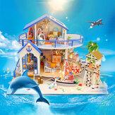 Lenda do mar azul de Hoomeda DIY Montar Boneca Modelo em miniatura de casa com luzes Música para coleção de presentes Decoração para casa