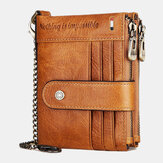 Moerae Men Genuine Leather RFID Double ZIpper Anti-theft Multi-card Slot Card Holder Wallet