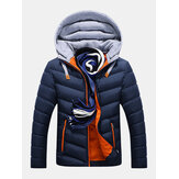 Mens Winter Thick Hooded Stitching Jacket Fashion Padded Casual Warm Zipper Pockets Coat