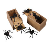 Prank Spider Inzet Houten Scare Box Trick Play Joke Levensechte verrassing April Fools 'Day Funny Novelties Speelgoed Gags Practical Gifts