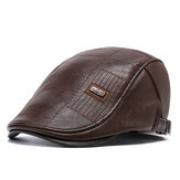 Collrown Men PU Leather Solid Color Casual Retro Visor Sun Hat Forward Hat Beret Hat