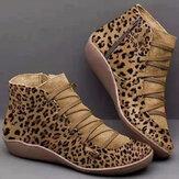 المرأة الكبيرة الحجم من جلد الغزال ليوبارد الحبوب الانزلاق على أحذية الكاحل عارضة Comnfy
