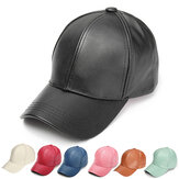Soft PU Leather Baseball Cap Biker Trucker Adjustable Outdoor Sports Hats For Men Women