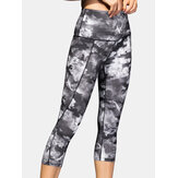 Women Tie Dye Quick Dry High Waist Slim Sport Yoga Pants With Side Pocket