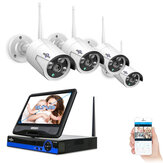 Hiseeu 10-Zoll-Display 4pcs 1080P Wireless CCTV-IP-Kamera-System 8CH NVR WiFi Videoüberwachung Home Security System Satz