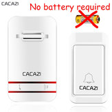 CACAZI Campanello Wireless Senza Batteria Impermeabile AC 110V-220V EU US