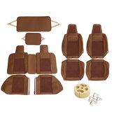 Assentodecarrodecourode PU cobre o conjunto de almofada de carvão de bambu de rodeio cheio para 5-assento carro