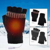 USB 5V gants chauffants électriques chauffe-mains hiver mitaines chaudes main ordinateur portable demi gants chauffants sans doigts