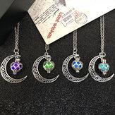 Fashion Heart-shaped Hollow Luminous Pendant Necklace