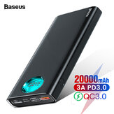 Baseus 20000mAh Power Bank 3 udgange og 3 indgange 18W USB-C PD3.0 Support QC3.0 FCP SCP LED Digital skærm Ekstern Power Bank