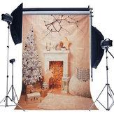 5x7ft Noel Şömine Yılbaşı Ağacı Şubesi Ahşap Battaniye Fotoğraf Backdrop Stüdyo Prop Arka Plan