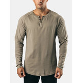 Mens Cotton Solid Color Button Round Neck Long Sleeve Basic T-Shirt
