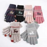 Women Girls Winter Crochet Knitted Warm Gloves  Touch Screen Cute Deer Printing Mittens