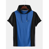 Men Casual Cotton Hooded Color Block Solid Color Short Sleeve Sport T-Shirts