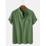 Herren Kurzarmhemden aus 100% Baumwolle aus massivem Henley-Kragen