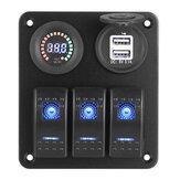 12V 3 Gang Blue Toggle Rocker Switch Painel Voltímetro Carregador USB Barco marinho para carro