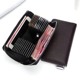 Men 24 Card Slots Genuine Leather 6 Inch Phone Car Key Bag Long Wallet