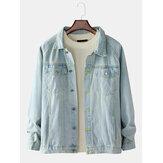 Mens Blue Lapel Pocket Long Sleeve Vintage Denim Jacket