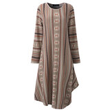 Vintage Women Geometric Printed Irregular Dress