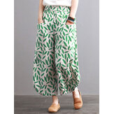 Women Vintage Leaves Print Pockets Elastic Waist Pants
