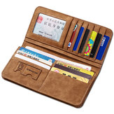 Vertikal PU Lær Wallet 13 Card Slots Kort Holder Casual Bill Holder For Men