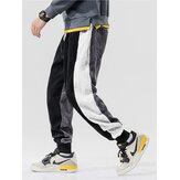 Erkek Patchwork Kadife Yan Çizgili İpli Orta Bel Jogger Pantolon