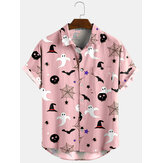 Banggood Design Halloween Cartoon Print Turn Down Collar Short Shirts