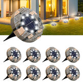 8 Pack Solar Ground Lights GLIME 8 LED Disk Solar Lights Outdoor Upgraded Garden Waterproof Bright In-Ground Lights for Pathway Walkway Driveway Lawn Yard Patio