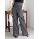 Women Stripe Print Asymmetrical Bandage Design Casual Wide Leg Pants