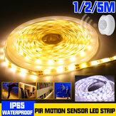 1M 2M 5M Waterproof LED Strip Light 2835 SMD PIR Motion Sensor Dimmable Closet Lamp for Cabinet Wardrobe DC12V