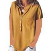 Women Solid Color Button Down V-Neck Short Sleeve Blouse