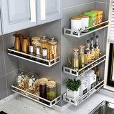 キッチンバスルームシャワーシェルフ用シングルレイヤーステンレススチールラックオーガナイザー収納壁掛けバスケット