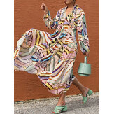 Women Colorful Irregular Striped Print Knotted Pleated Long Sleeve Casual Dress