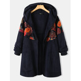 Ethnic Floral Printed Patchwork Long Sleeves Vintage Hooded Plus Size Coats For Women