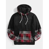 Mens Patchwork Plaid Kangaroo Pocket Long Sleeve Black Hoodies