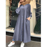 Women Casual Stripe Print Button Long Sleeve Side Pocket Shirt Maxi Dress