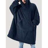 Flanel Thicken Oversized Kangaroo Pocket Blanket Hoodies voor heren Warm Homewear