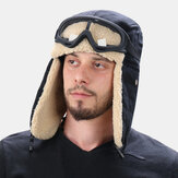 Unisex Lamb Hair and Canvas Plus Thicken Warm Windproof Ear Protection Outdoor Ski Hat Trapper Hat