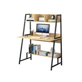 Computadora moderna Escritorio para computadora portátil Mesa para computadora Mesa de oficina con estantes de almacenamiento Decoraciones de estantería para ahorrar espacio Pantalla Soporte