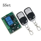 5Set 433MHz DC 12V24V 2-Way Remote Control Switch 2 Channel Relay Module Motor Forward and Reverse Controller
