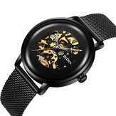 BIDEN BD0052 Mesh Stainless Steel Band Automatic Mechanical Watch Business Style Men Watch