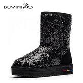 BUYINIAO女性ウィンターコットンスノーブーツフラットボトムブーツPaillette Winter Boots