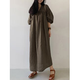 Women Cotton Solid Pleated Loose Puff Sleeve Maxi Dresses With Side Pockets