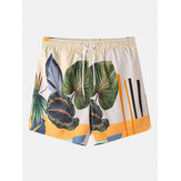 Banggood Diseñado para hombre Plantas casuales Dejar Shorts con cordón tropical estampado